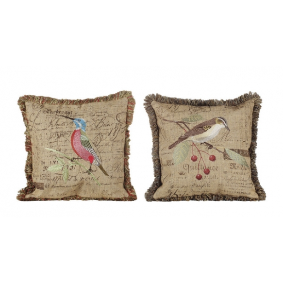 Pellavakankainen tyyny, jossa kirjailtu lintu