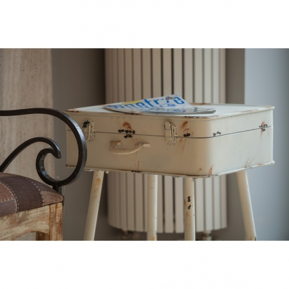 metallinen vintage apupöytä laatikoiden kanssa