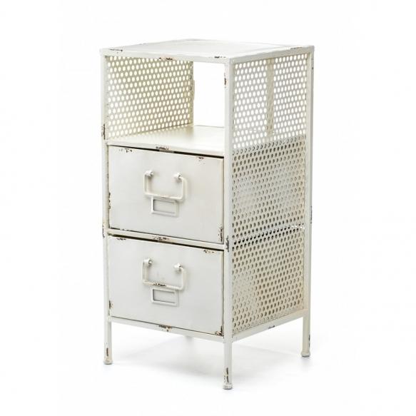 metallinen vintage hylly laatikoiden kanssa