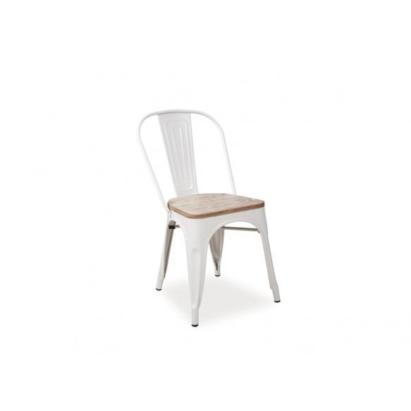valkoinen vintage metallituoli, puinen istuinosa