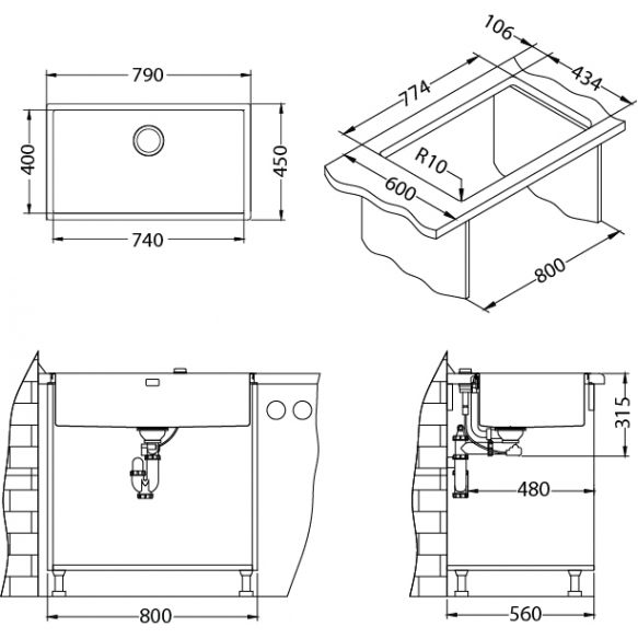 keittiöallas Alveus Quadrix 60, 790x450 mm rst