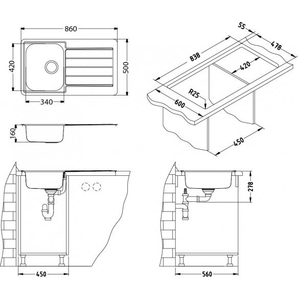 keittiöallas Alveus Line 20 Monarch, 860x500 mm, rst/kulta