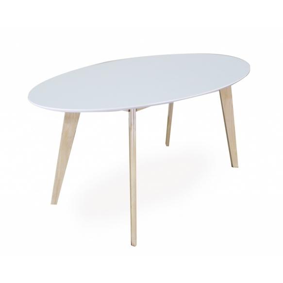 ruokapöytä Nordic Oval, valkoinen/tammi, 160x90 cm