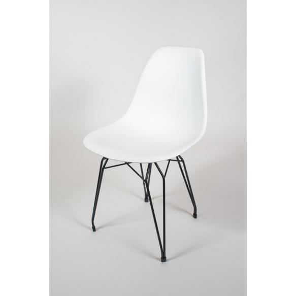 tuoli Alexis, valkoinen, mustat metallijalat