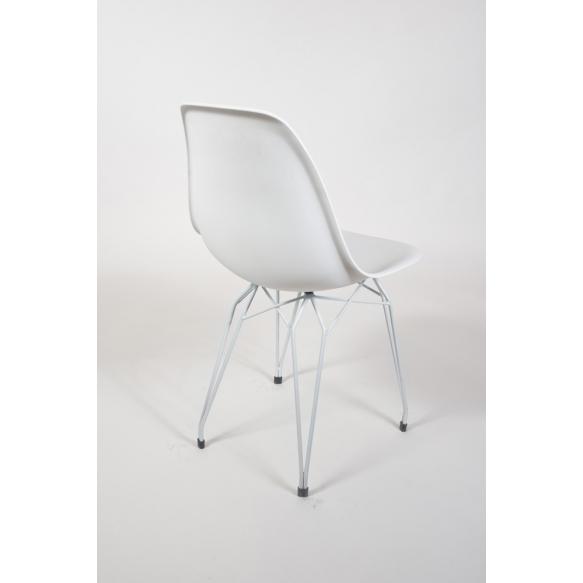 tuoli Alexis, valkoinen, valkoiset metallijalat