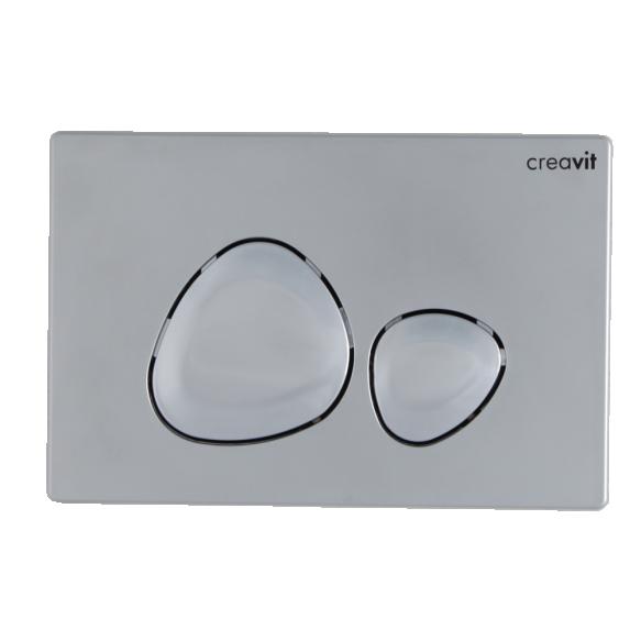 seinä wc-istuinpaketti Creavit Free Rimless, täydellinen toimitus - mattakromi huuhtelupainike