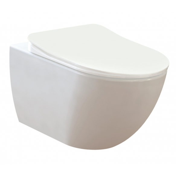 seinä wc-istuinpaketti Creavit Free Rimless, täydellinen toimitus - valkoinen huuhtelupainike