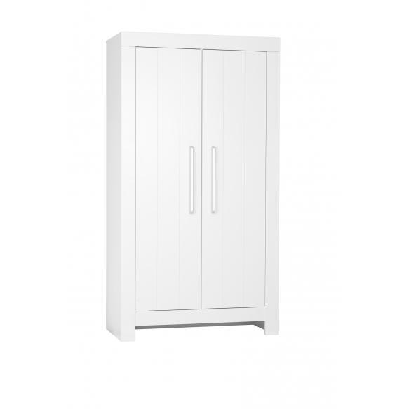 2-ovinen vaatekaappi Calmo, valkoinen