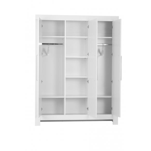 3-ovinen vaatekaappi Calmo, valkoinen