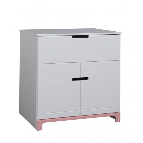 2-ovinen lipasto Mini, valkoinen+pinkki