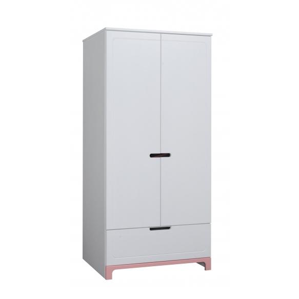 2-ovinen vaatekaappi Mini, valkoinen+pinkki