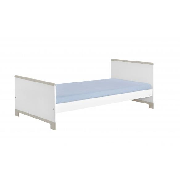 sänky, 200x90 cm, valkoinen+harmaa