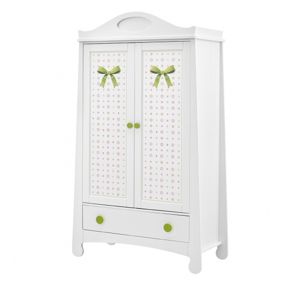 2-ovinen vaatekaappi Parole, tulostetulla kuviolla, valkoinen+vihreä