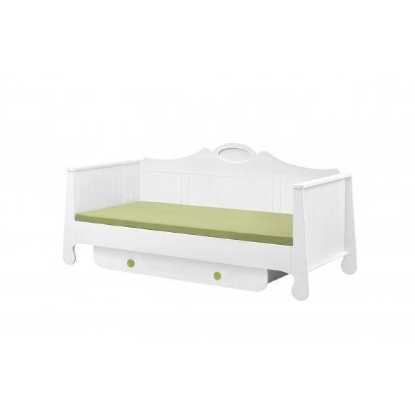 sänky, 200x90, valkoinen+vihreä