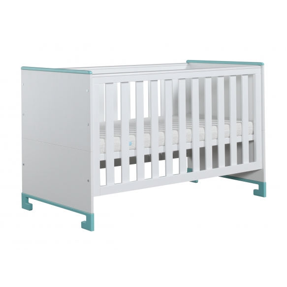 vauvansänky-sänky Toto, 140x70, valkoinen+turkoosi