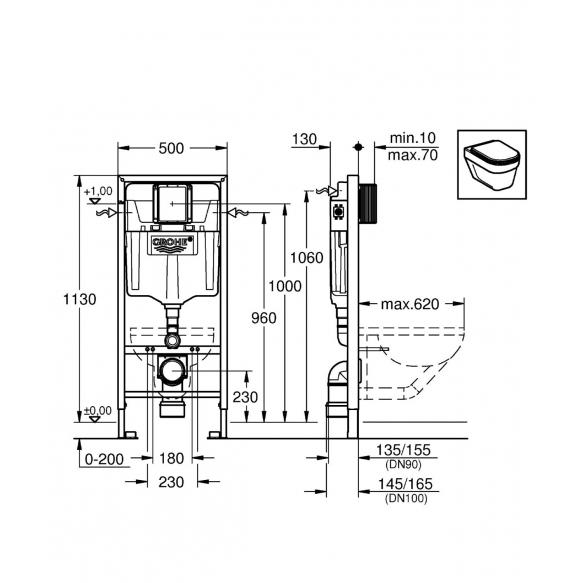 Grohe Rapid seinänsisäinen wc-kehys kevyeen väliseinään + kiinnikkeet + kromattu huuhtelunuppi