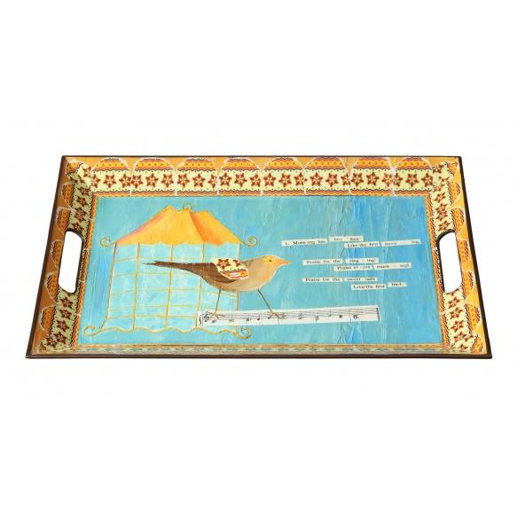 45x30 cm muovinen tarjotin, lintuaiheinen
