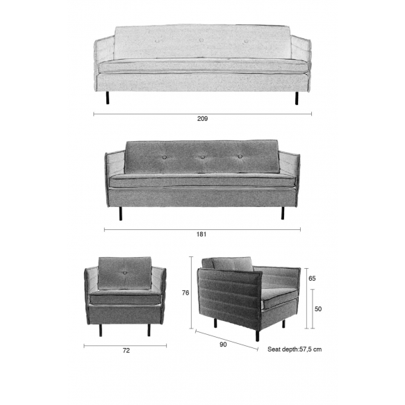2,5-paikkainen sohva Jaey, harmaa 67