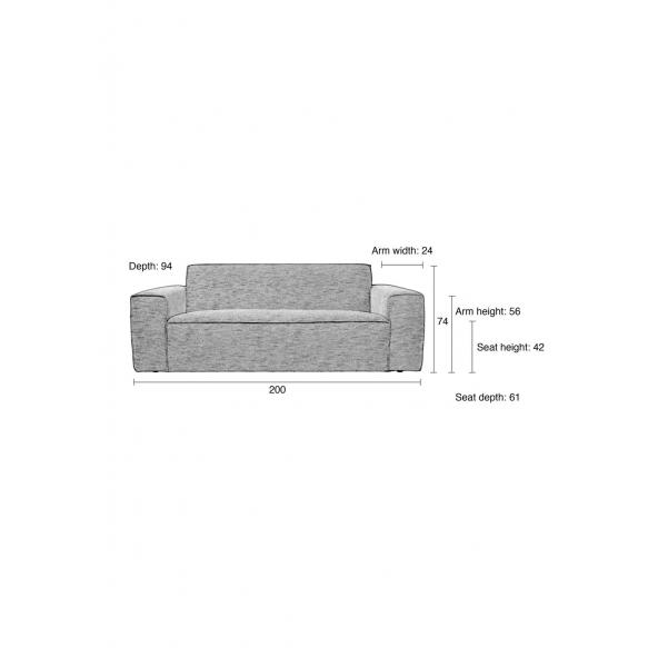 2,5-paikkainen sohva Bor, harmaa