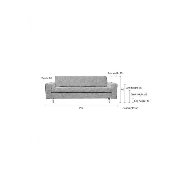 2,5-paikkainen sohva Jean, harmaa