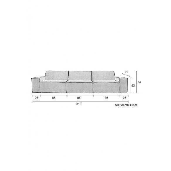 3-paikkainen sohva Rib Web, harmaa