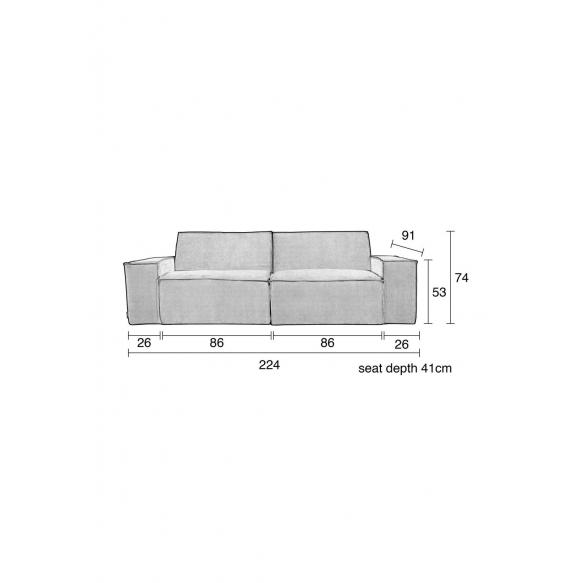 2-paikkainen sohva Rib Web, vaaleanharmaa