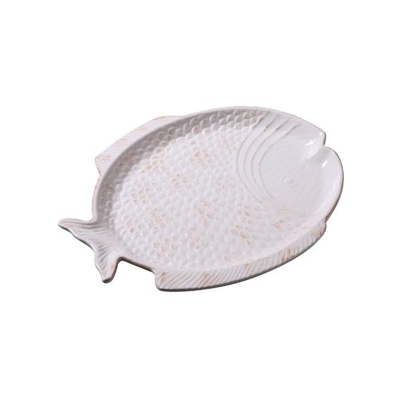 30 cm keraaminen kalan muotoinen tarjotin, kermanvalkea