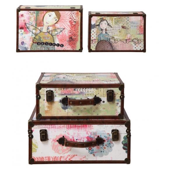 puiset kankaalla päällystetyt matkalaukut/säilytysrasiat, tyttöaihe, 2 eri mittaa