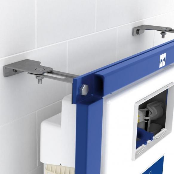 seinä-wc-paketti Villeroy&Boch: asennustelinne ViConnect, wc istuin Omnia Architectura no rim, hitaasti sulkeutuva istuinkansi, huuhtelupainike ViConnect kromi