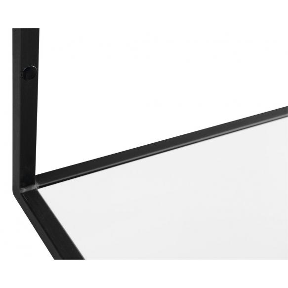 metallinen pesuallasrakenne Ska, 75 cm, mattamusta, valkoinen MDF-hylly