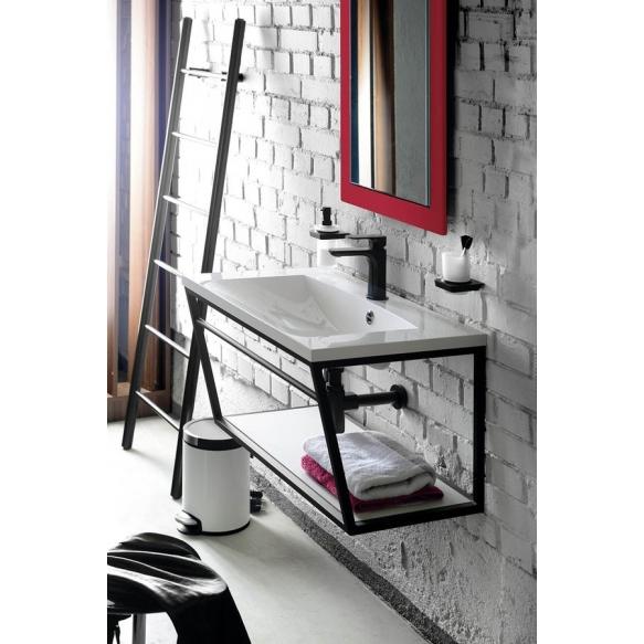 metallinen pesuallasrakenne Ska, 90 cm, mattavalkoinen, valkoinen MDF-hylly