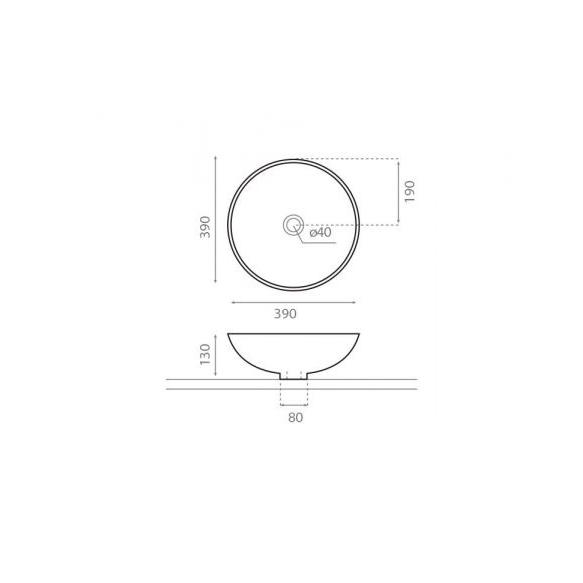 Pesuallas Bathco Denia Rustic, 390x390x130mm, musta