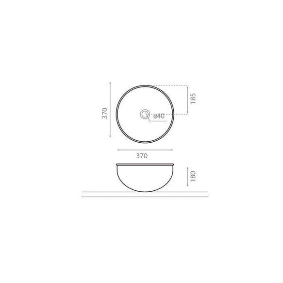 Pesuallas Bathco Mogro, 370x370x180mm, harmaa