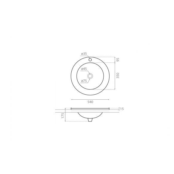 Pesuallas Bathco Habana, 540x540x175mm, valkoinen