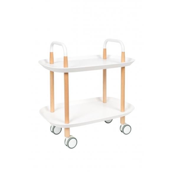 pyörillä varustettu tarjoilupöytä Cruiser, valkoinen
