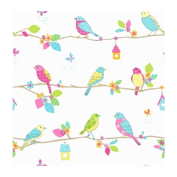 Hoopla Pretty Birds SidewallBlue