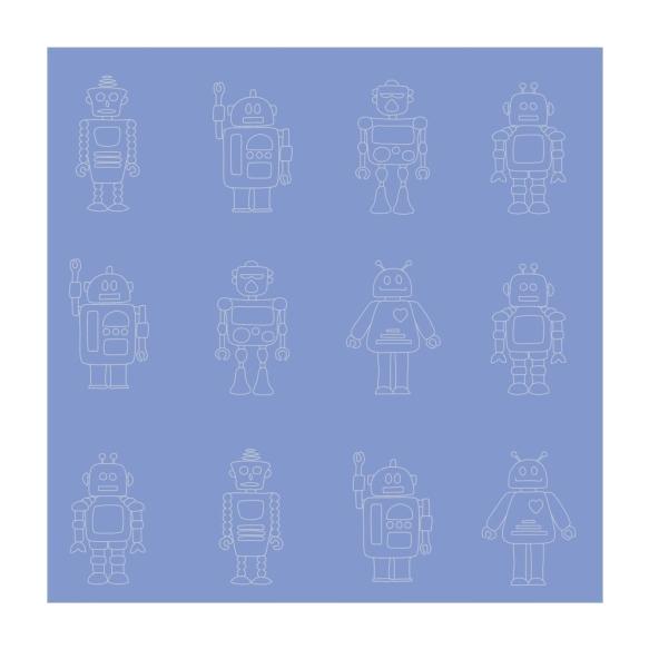Hoopla Robots Silhouette SidewallBlue