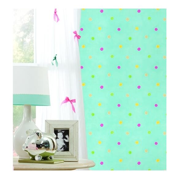 Hoopla Spots SidewallTurquoise