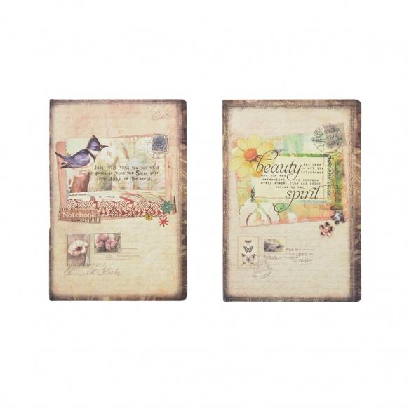 vintage paperimuistio, 2 tyyliä, 14 cm L x 21 cm W