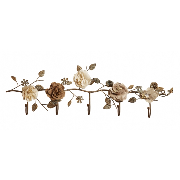 metallinen kukkakuvioinen koukku, 59,5 cm L x 6,5 cm W x 17,5 cm H