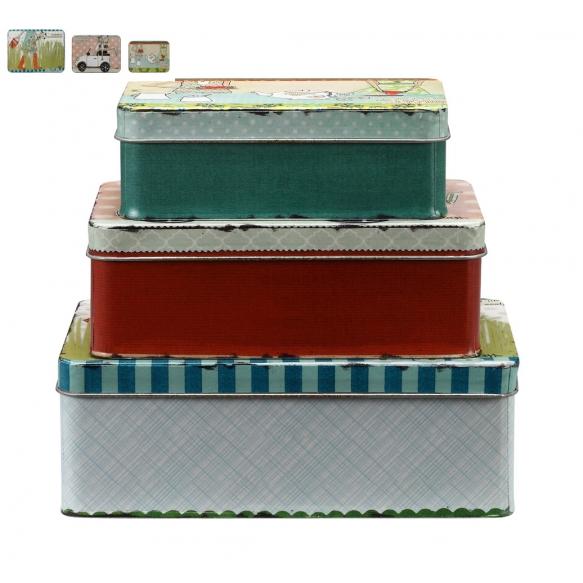 metallinen, koristeltu rasia, 3 eri kokoa, L 21 cm, 18 cm & 15 cm
