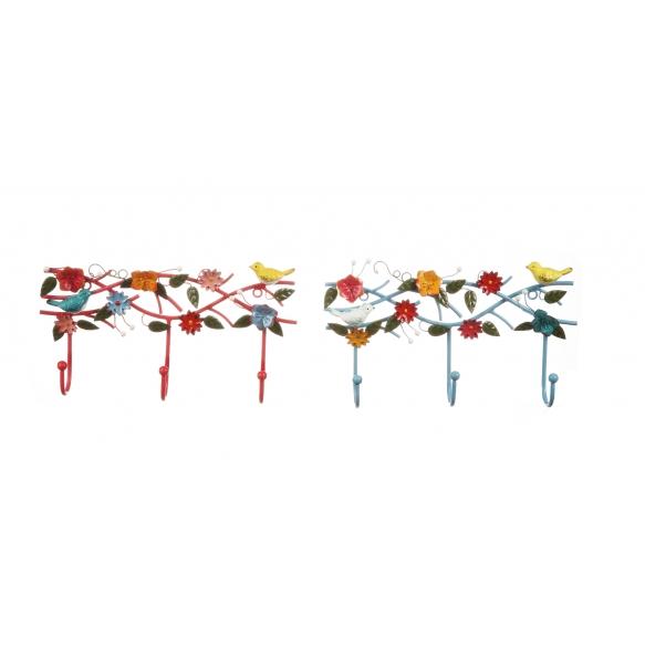 metallinen käsin maalattu lintuaiheinen koukku, 36 cm L x 5,5 cm W x 19 cm H