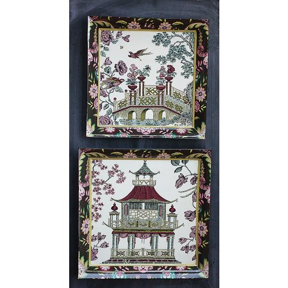 puinen koristetarjotin, 2 eri kokoa, 29,2 cm L x 29,2 cm W x 2,5 cm H