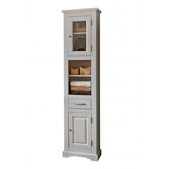 korkea kaappi Interia Romantic, 45x190x30 cm, valkoinen