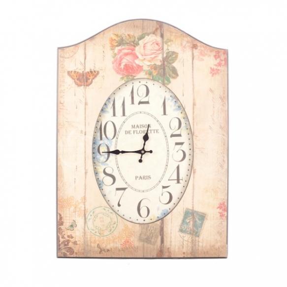 Vintage-seinäkello puukehyksessä, kukka-aiheinen säilytysrasia