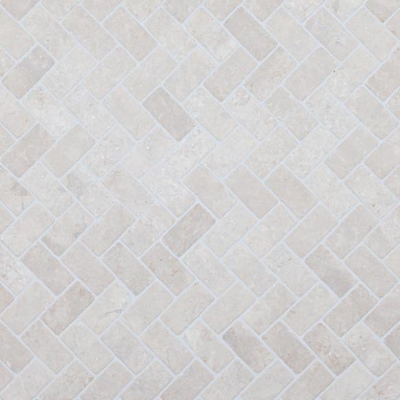Herringbone White marble