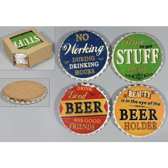 stone coaster Beer, 4 pcs
