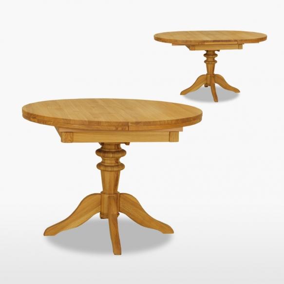 pyöreä jatkettava ruokapöytä yhdellä jatkokappaleella, 106/145 cm
