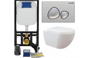 seinä wc-istuinpaketti Creavit Free Rimless, täydellinen toimitus - kromi huuhtelupainike