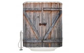 tekstiili suihkuverho Barn Door 183x200 cm + suihkuverhon rengassetti